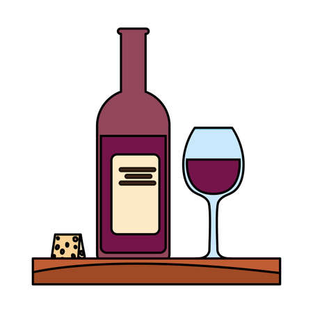 bottle and glass of wine with piece of cheese vector illustration design Ilustrace