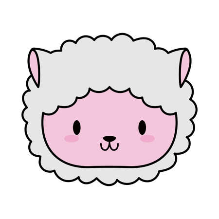 head sheep baby, line and fill style icon vector illustration design