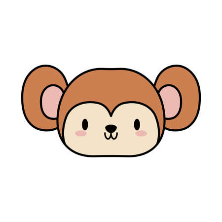head of monkey baby, line and fill style icon vector illustration design
