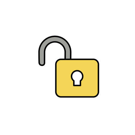 security padlock open, line style icon vector illustration design