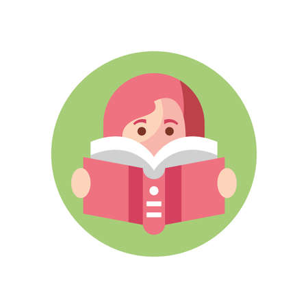 cartoon girl reading a book over white background, colorful block style, vector illustration