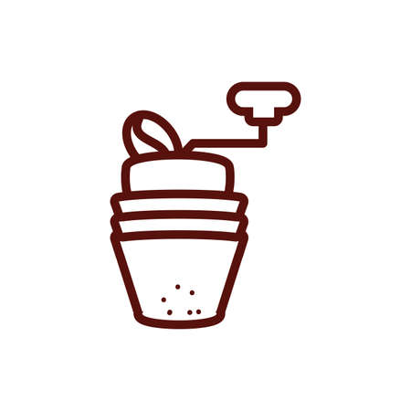 Coffee mill design of time drink breakfast beverage shop morning store aroma and caffeine theme Vector illustration