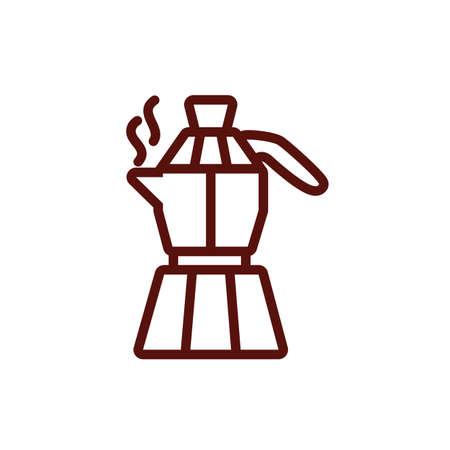 Coffee kettle design of time drink breakfast beverage shop morning store aroma and caffeine theme Vector illustration