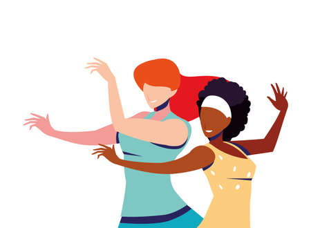 scene of women in dance pose, party, dance club vector illustration design Illusztráció