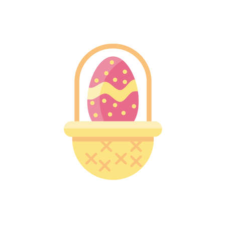 basket with easter egg over white background, flat style icon, vector illustration