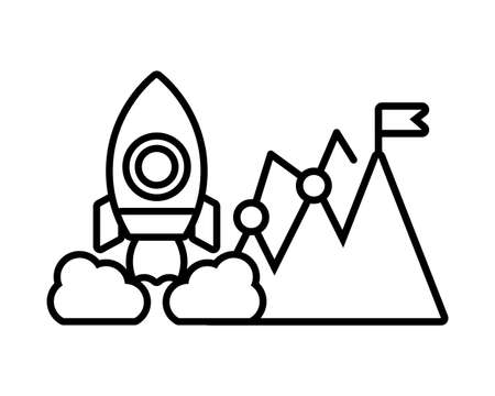 rocket with seo icons in white background vector illustration design Ilustrace