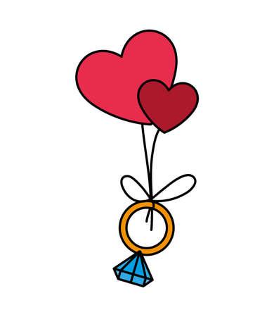 engagement ring hanging hearts, valentines day vector illustration design 일러스트