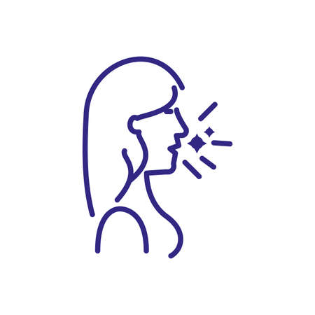 woman coughing icon over white background, line detail vector illustration