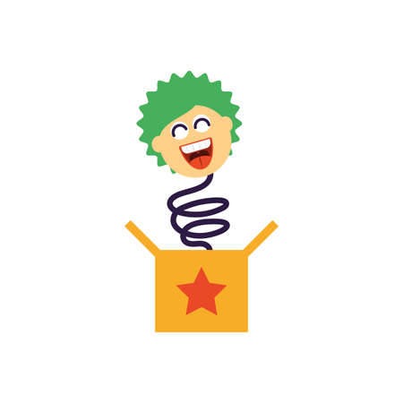 jokebox with clown over white background, flat style icon, vector illustration
