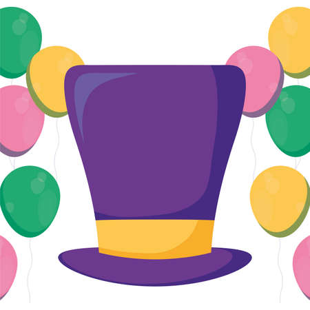 Mardi gras hat and balloons design, Party carnival decoration celebration festival holiday fun new orleans and traditional theme Vector illustration