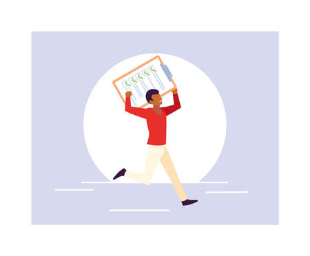 young man holding a clipboard vector illustration design