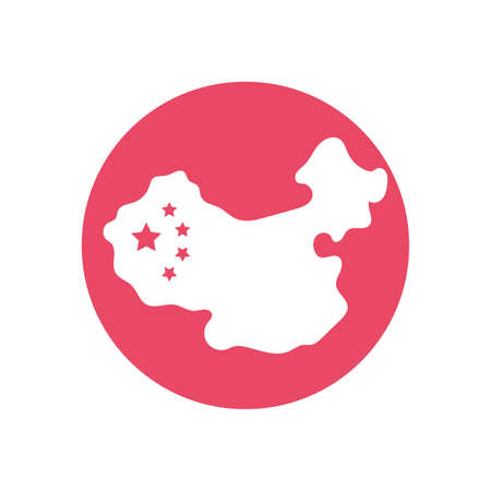 china map icon over white background, block style and colorful design, vector illustration