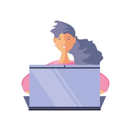 woman in front of laptop on white background, online education vector illustration design Ilustração