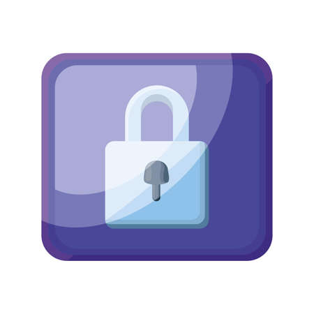 padlock application icon on white background vector illustration design Ilustrace