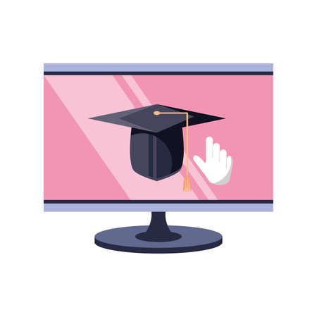 desktop computer screen, online course vector illustration design