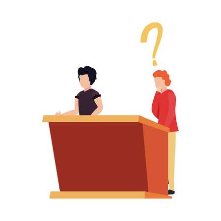 trivia night men thinking stand game vector illustration