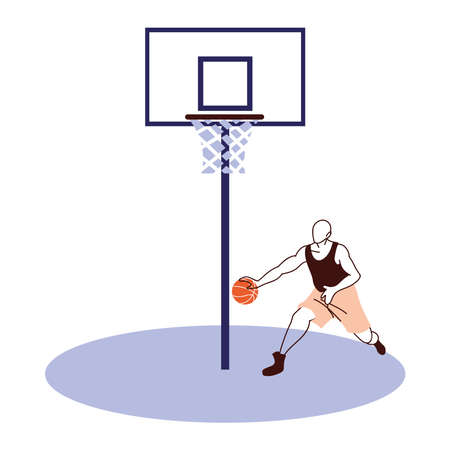 Player man with ball and backboard design, Basketball sport hobby competition and game theme Vector illustration Ilustração