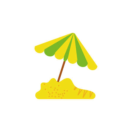 Umbrella in the beach design, Summer vacation tropical relaxation outdoor nature tourism relax lifestyle and paradise theme Vector illustration