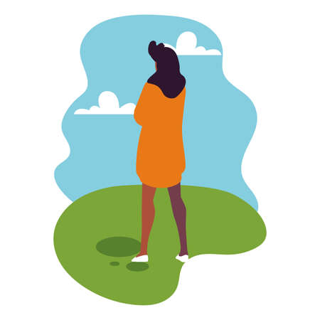 young woman standing with landscape background vector illustration design  イラスト・ベクター素材