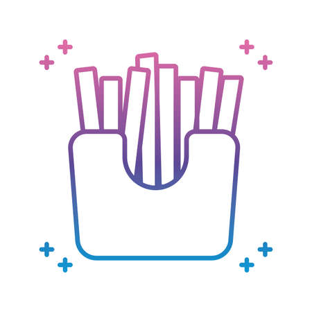 french fries box icon over white background, gradient line style, vector illustration