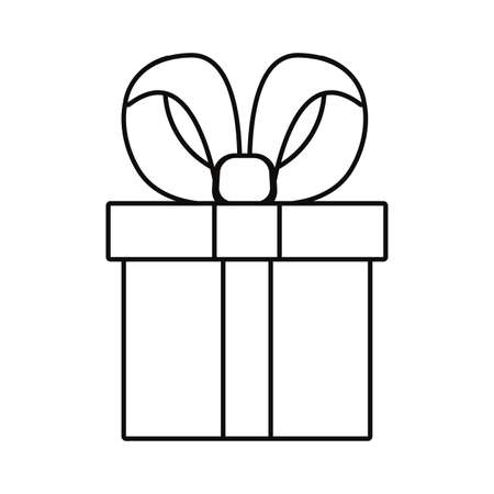 wrapped gift box on white background vector illustration outline 일러스트