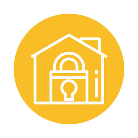 house with padlock, block and flat style icon vector illustration design