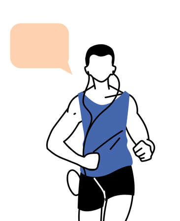 man avatar running with communication bubble design, Marathon athlete training and fitness theme Vector illustration Illustration