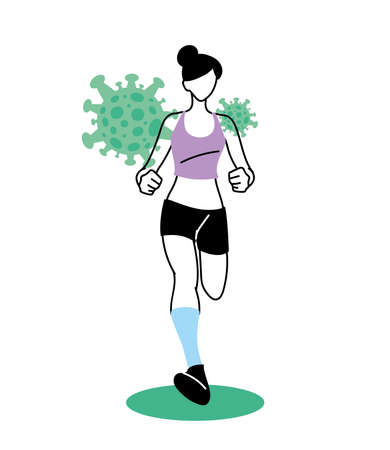 Woman avatar running with covid 19 virus design of 2019 ncov cov coronavirus infection and corona theme Vector illustration
