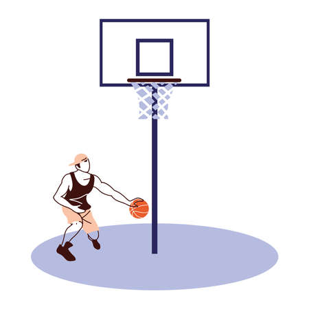 Player man with ball and backboard design, Basketball sport hobby competition and game theme Vector illustration 向量圖像