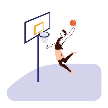 Player man with ball jumping to backboard design, Basketball sport hobby competition and game theme Vector illustration