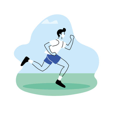young man jogging in the park, outdoor workout vector illustration design