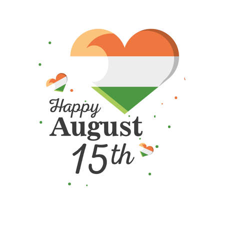 heart detailed style icon design, happy india independence day and august 15th theme Vector illustration