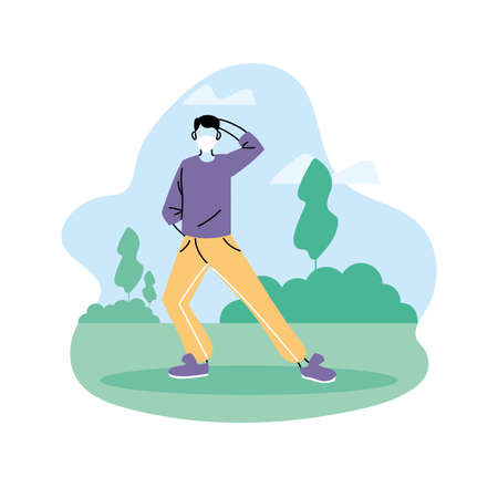 man doing yoga, healthy lifestyle and fitness exercises vector illustration design Illustration