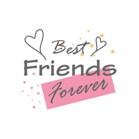 best friends forever with hearts detailed style icon design of friendship love and support theme Vector illustration