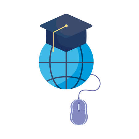 symbol global education with graduation cap vector illustration design