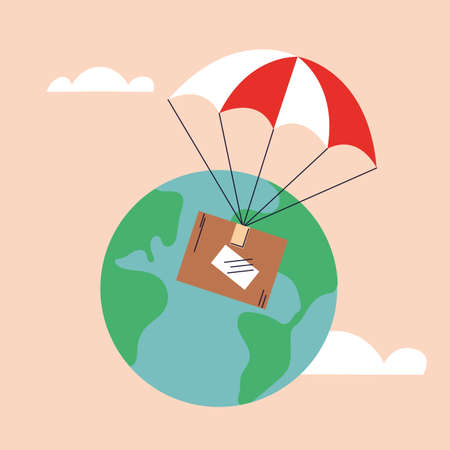 cardboard box with parachute, delivered by airmail vector illustration design