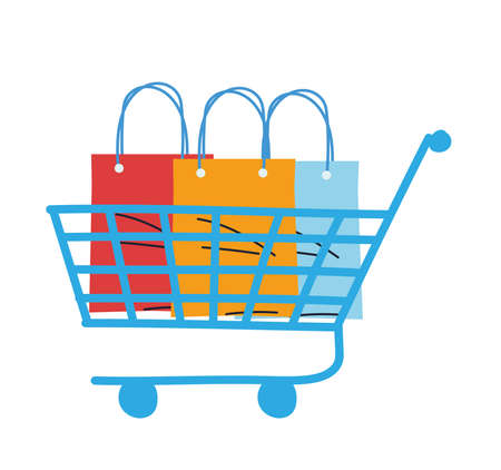 shopping cart with bags and packages vector illustration desing