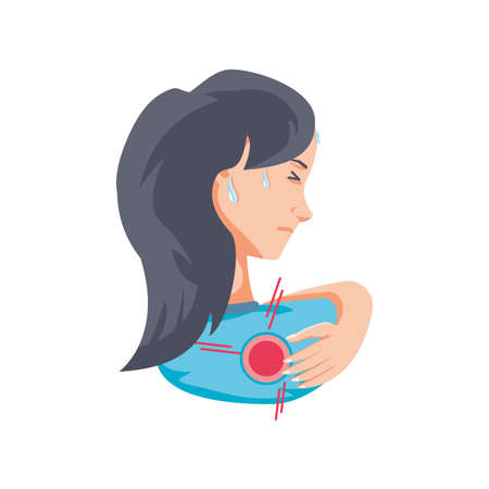 woman with body pain on white background vector illustration design