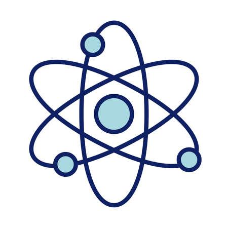 atom symbol, line and fill style icon vector illustration design