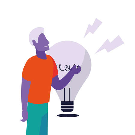 man with great idea and entrepreneurship vector ilustration desing