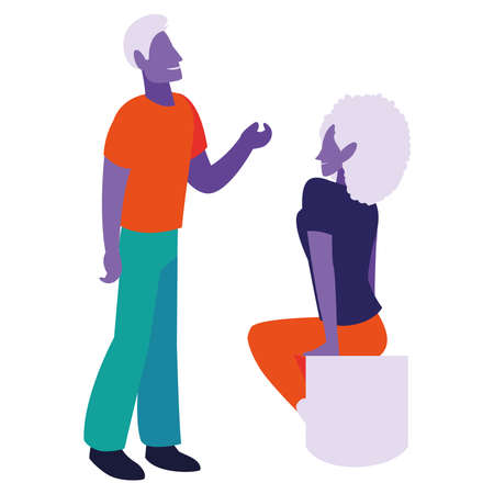 Couple of man and woman dialoguing vector illustration desing Vetores