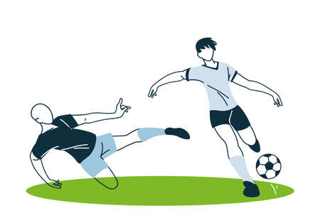 Players men with ball design, Soccer football sport hobby competition and game theme Vector illustration Vektoros illusztráció
