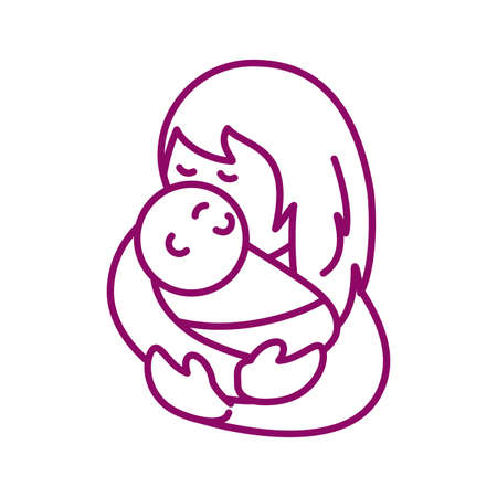 mother with baby, line style icon vector illustration design