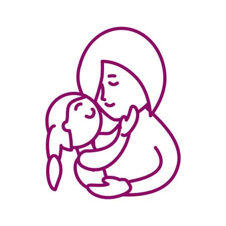 mother with daughter, line style icon vector illustration design Ilustração