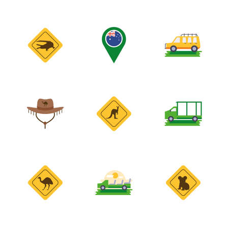 Australian icon set design, Travel tourism landmark destination nature vacation south western and holiday theme Vector illustration