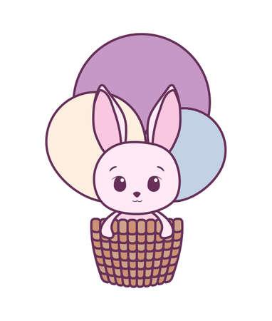 Cute rabbit cartoon inside basket design, Animal zoo life nature character childhood and adorable theme Vector illustration
