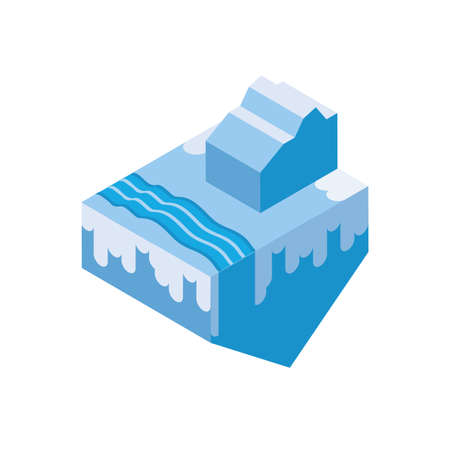 Isometric iceberg and water design, Nature element earth eco ecology conservation bio environment and outdoor theme Vector illustration