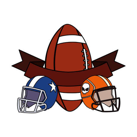 helmets and ball american football with ribbon vector illustration design