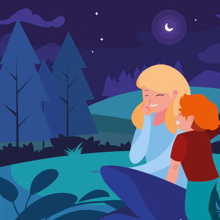 beautiful mother with son in the landscape at night vector illustration design