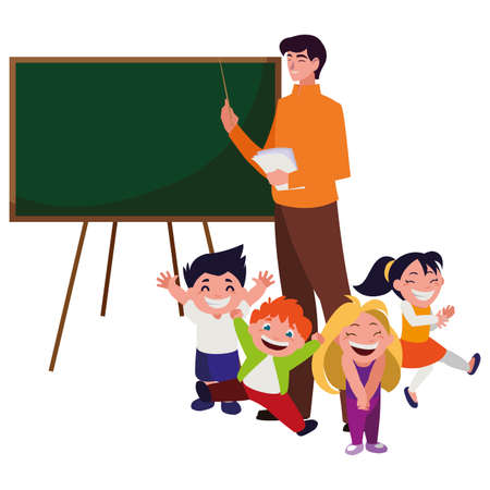 teacher male with kids students and chalkboard vector illustration design
